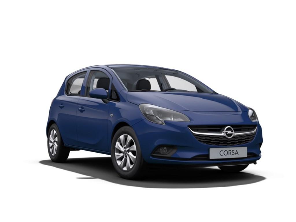 Opel-Corsa-Blauw-5-Deurs-12-Benz-Enjoy-70pk-Nieuw-Navi-Alu-velgen