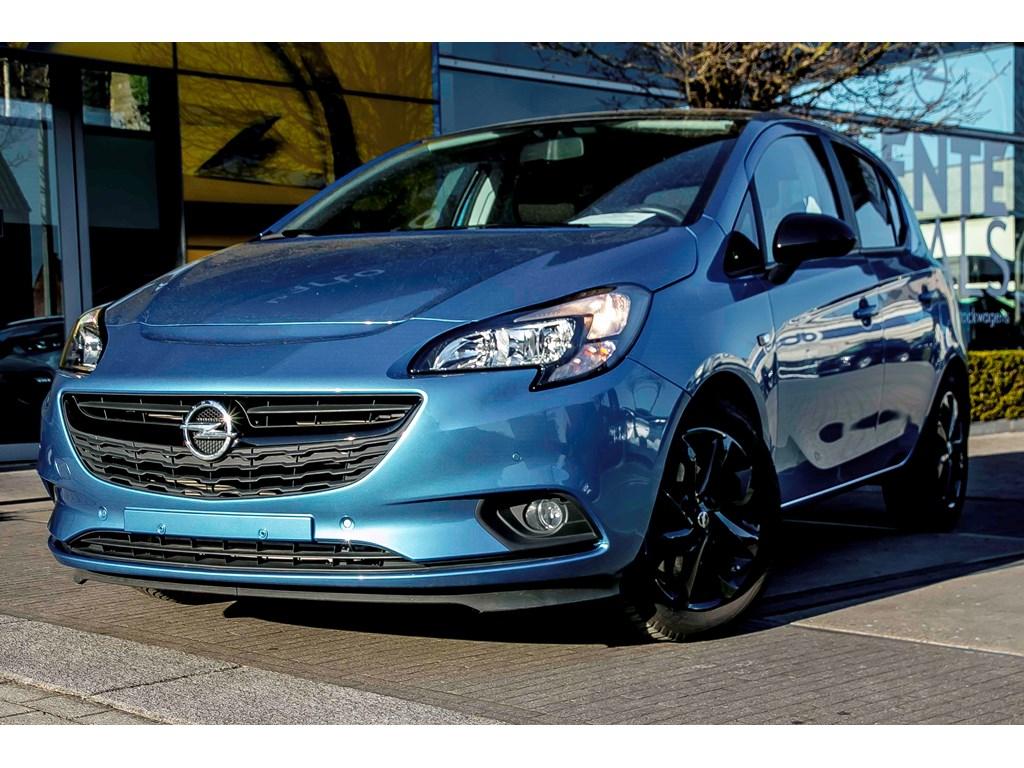 Tweedehands te koop: Opel Corsa Blauw - 5-Deurs Black Edition 14 Turbo benz 100pk - Airco - Parkeersens va - Cruise Control - Bluetooth