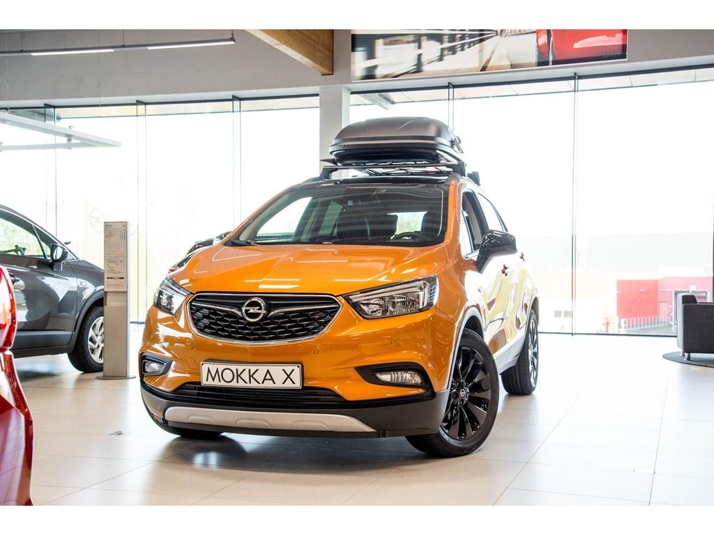Tweedehands te koop: Opel Mokka X Oranje - Design Line 14 Turbo benz Manueel 6 versnellingen StartStop - 120pk 88kw - Nieuw