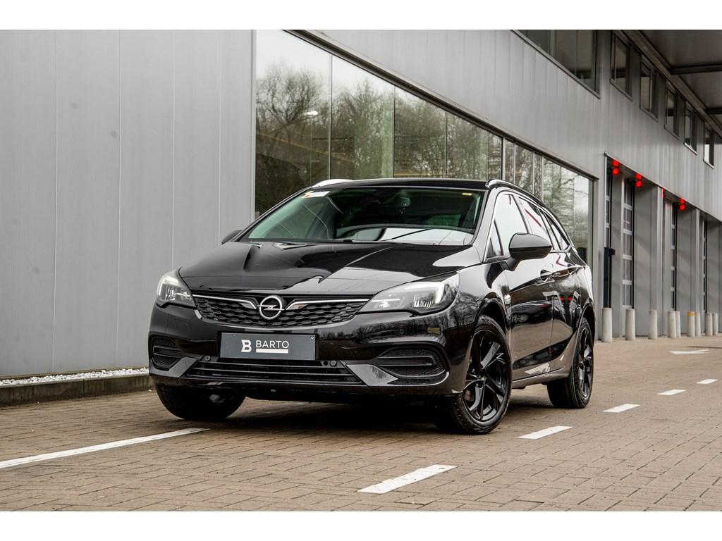 Tweedehands te koop: Opel Astra Zwart - Sports Tourer 12 Turbo Benz 110pk SS Manueel 6 - Elegance - Nieuw