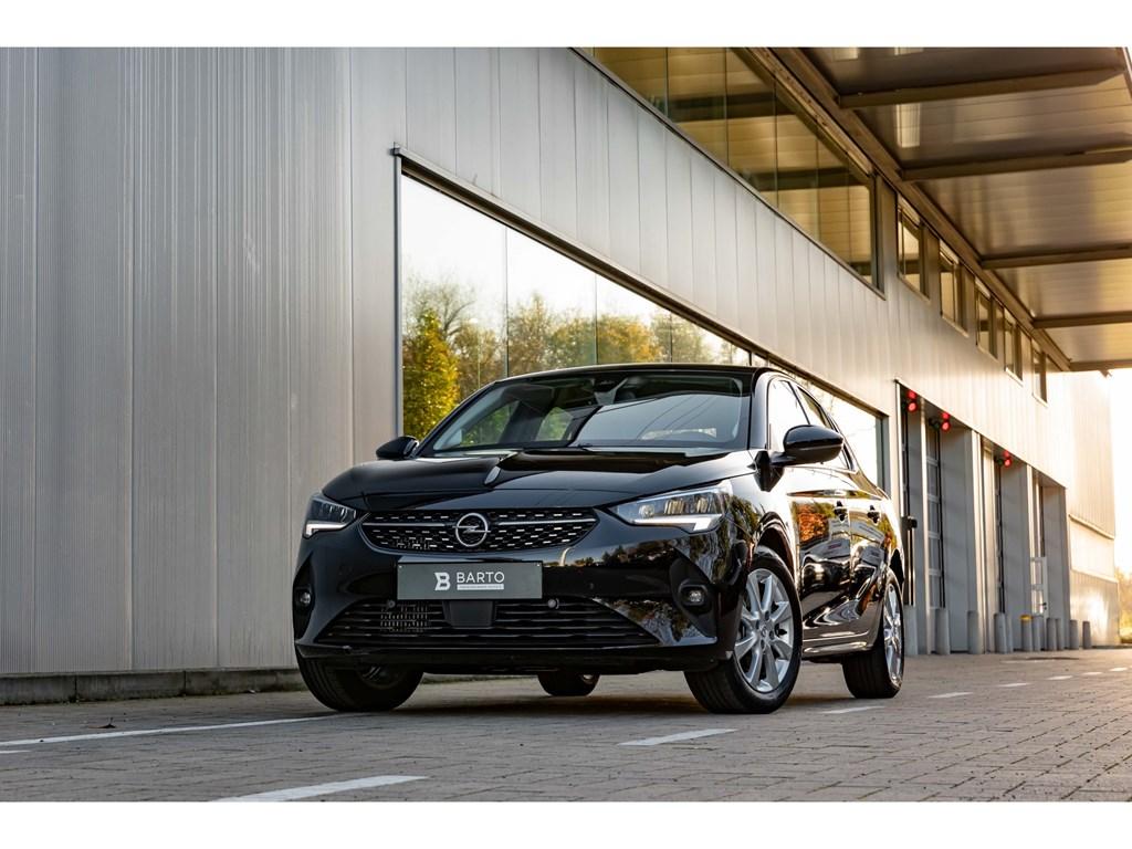 Opel-Corsa-Zwart-12T-100pkEleganceCameraDigitaal-DashboardParkeersens-vaDodehoekAuto-Airco
